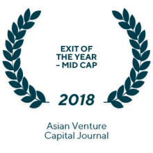 "The 2018 The Asian Private Equity & Venture Capital Awards ""Exit of the Year – Mid Cap"""