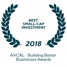 "2018 AVCAL Annual Awards ""Best Small-Cap Investment"""