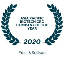 2020 Asia Pacific Biotech CRO Company of the year (Frost & Sullivan)